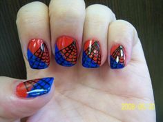 Spider-Man nails, Im kinda in love with spiderman.