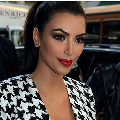 Kim Kardashian makeup #red #lipstick