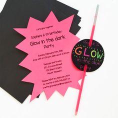 Einladung Glow in the dark-Party/ Disco- Party/ Schwarzlicht-Party