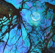 Winter moon 4x6 inches mixed media original by dahliahousestudios, $20.00