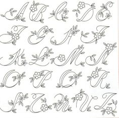 (603) Gallery.ru / Фото #27 - 2008.08 - irislena Embroidery Alphabet, Embroidery Monogram, Hand Embroidery Patterns, Ribbon Embroidery, Embroidery Stitches, Hand Lettering Alphabet, Doodle Lettering, Creative Lettering, Lettering Styles