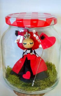 Reina de Corazones en tarro de cristal, Miniaturas y muñecas, Figuras en miniatura, Fechas señaladas, Navidad, Hogar, Decoración