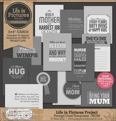 """Life in Pictures: Prompt Card Templates - Mom Size: 3x4"""" #projectlife #lifeinpictures"""