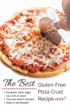 If you love pizza, then you have to try this recipes. It's hands down the BEST and EASIET gluten-free pizza crust ever! Comes together in minutes, is free from all the top allergens and only takes 5 ingredients!