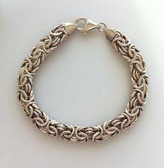 Byzantine Style Sterling Silver Link Bracelet - Vintage Fancy Link Sterling Bracelet  8 Inches 16.50 Grams by MagicalUniverse on Etsy