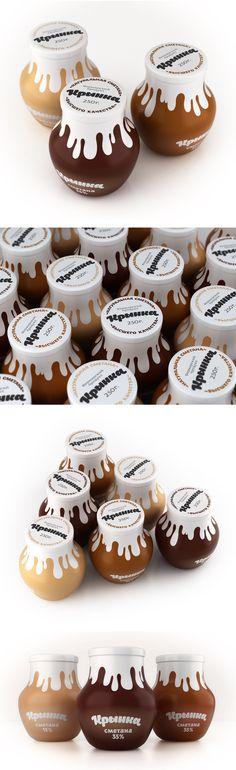 """Krinka"" Sour Creame by Pavel Kulinsky yummy PD (Cream Bottle Design) Yogurt Packaging, Dairy Packaging, Honey Packaging, Cool Packaging, Food Packaging Design, Bottle Packaging, Packaging Design Inspiration, Brand Packaging, Label Design"