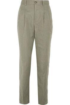 A.P.C. Atelier de Production et de Création - Lena Cotton And Linen-blend Tapered Pants - Army green - FR