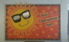 Have a SUN-sational year! Sun Bulletin Boards, Colorful Bulletin Boards, Teacher Bulletin Boards, Birthday Bulletin Boards, Back To School Bulletin Boards, Preschool Bulletin Boards, Classroom Board, Classroom Bulletin Boards, Classroom Themes