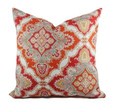 Orange outdoor pillows 18x18 Red outdoor pillow by PillowCorner