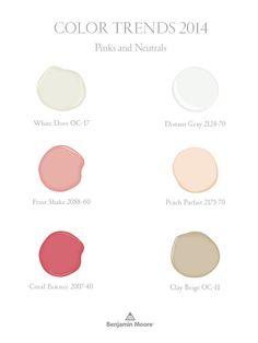 Benjamin Moore Color Trends 2014 - pinks and neutrals
