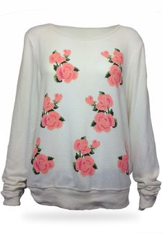 Wildfox Couture  Prairie Rose Baggy Beach Jumper  Lovely pink roses seem to blossom all over the front of this adorable top. Featuring a scoop neck, draped long sleeves and banded hems, you'll love the feel and the look of this top.  47% rayon, 47% polyester, 6% spandex  Wash in cold with like colors, lay flat to dry  #EMBELLISHME #fashion  Get yours now at www.TsAccessories2You.com.