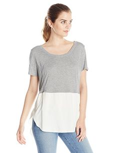 DKNY Jeans Women's Mixed Fabric Top, Smoke Grey Heather, Large
