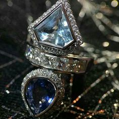 """London-based master goldsmith and London-based jewelry designer Sabine Roemer dreamed up this dramatic 18k white gold """"Wonder Woman"""" ring and hand-fabricated it in her Notting Hill atelier.  Sapphire, aquamarine and diamonds unite in a sleek, chic design that embodies the finesse of the highest haute joaillerie.   Repost @bijouxreview"""