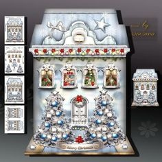 Winter Festive High Christmas House on Craftsuprint designed by Atlic Snezana - Winter Festive High Christmas House: 4 sheets for print with decoupage for 3D effect plus few sentiment tags (for your own personal text) - Now available for download!