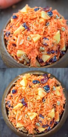 This easytomake, flavorful, and healthy Shredded Carrot Salad — packed with cranberries, apples, and toasted walnuts — is loved by both kids and adults! carrot salad cranberries walnuts app is part of Salad - Fruit Salad Recipes, Carrot Recipes, Carrot Salad Dressing Recipe, Creamy Fruit Salads, Cabbage Salad Recipes, Fruit Fruit, Healthy Dinner Recipes, Vegetarian Recipes, Cooking Recipes