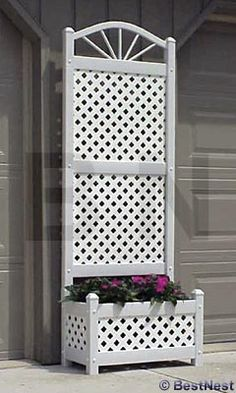 "Dura-Trel Sunburst Planter Trellis with Lattice, White, 78""H at BestNest.com  for privacy on your apartment or house balcony!"