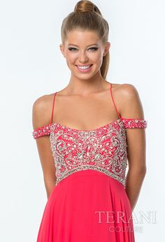 Chiffon off the shoulder sheath dress with halter spaghetti straps, sequin embellished bodice, empire waist, and poly-chiffon skirt.