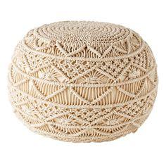 Geflochtener Puff aus Baumwoll-Makramee | Maisons du Monde