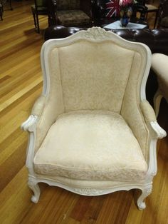GORGEOUS FRENCH PROVINCIAL ANTIQUE LOUIS STYLE CARVED WHITE WINGBACK ARMCHAIR Wingback Armchair, French Chairs, French Provincial, Tub Chair, Parisian, Accent Chairs, Cottage, Study, Antique
