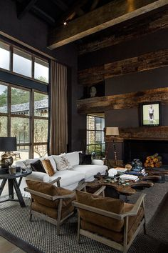Wonderful Rustic Living Room Decor Ideas And Remodel - Page 48 of 144 - Afshin Decor Interior Exterior, Interior Architecture, Interior Livingroom, Style At Home, Log Homes, Home Fashion, Great Rooms, Living Room Decor, House Design