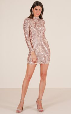 What A View dress in rose gold sequin  87c875f53d85