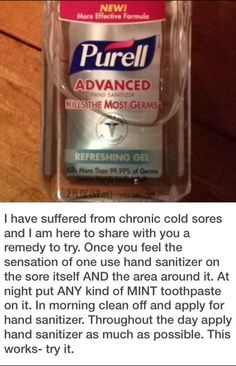 cold sore healing tips Acne Spot Treatment Diy, Cold Sore Treatment, Cold And Cough Remedies, Cold Home Remedies, Natural Remedies, Healing Cold Sore, Liquid Hand Soap, Things To Know, Hand Sanitizer