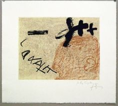 Artist: Antoni Tàpies,  title: Roman Elegies (book with poems by Joseph Brodsky and lithographs by Tàpies),  technology: Lithography (separately for book)