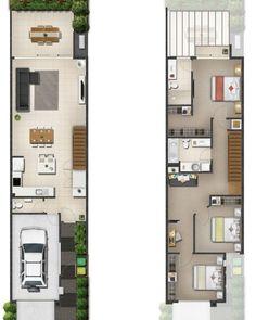Home design trends floor plans 40 trendy ideas Duplex House Plans, Garage House Plans, Dream House Plans, Modern House Plans, House Floor Plans, Narrow House Designs, Narrow Lot House Plans, Small House Design, Modern House Design