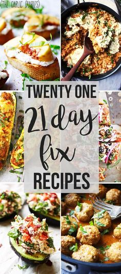 Twenty One 21 Day Fix Recipes If you are on the 21 Day Fix (or just love healthy and delicious food) this list of recipes is a must have. Every single one is mouthwatering!