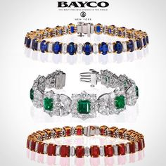 Which is your favorite precious gemstone? Three exceptional #BaycoJewels bracelets, made with the worlds finest sapphires, emeralds, and rubies. Which would you choose? 💙💚❤️ #thebest #newyork #rare #emerald #sapphire #ruby #diamond #Bayco #finejewelry #hautejoaillerie #luxury #design #chic #classic #elegant #style