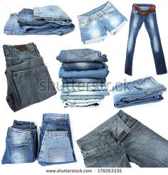Collage of jeans isolated on white - stock photo