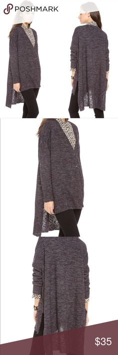 Free People Cardigan  TGIF S Heather Marled Snap Super nice lightweight cardigan, snap front, hi lo hem. Lightly loved, clean and ready to wear. Oversized, would fit s-m-l Free People Sweaters Cardigans
