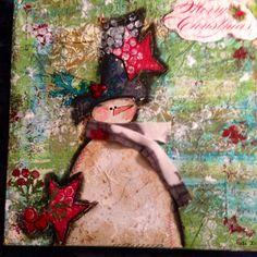 Mixed media canvas/snow man/Merry Christmas