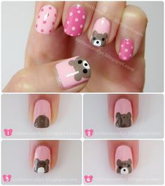Teddy Bear and Polka Dots Nail Art Tutorial - Animal Nail Art Animal Nail Art, Dot Nail Art, Polka Dot Nails, Nail Art Diy, Easy Nail Art, Diy Nails, Cute Nails, Polka Dots, How To Nail Art
