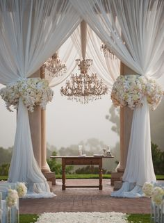 amazon wedding decorations chandelier   Chandelier Chuppah : Rock some major outdoor elegance with draped ...