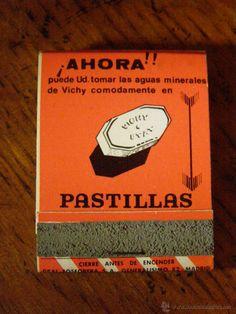 Antigua caja de cerillas anuncio Agua Mineral Vichy en Pastillas - ETAT- Diefar - Barcelona - Farmacia -