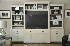 Honey We're Home: Painted Media Cabinet Bookshelf Styling Paint my family room cabinet perhaps? Living Room Built Ins, Home Living Room, Living Room Decor, Living Spaces, Living Area, Painted Entertainment Centers, Entertainment Ideas, Entertainment Products, Built In Cabinets