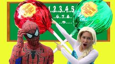 Giant Chupa Chups Learn Count with Spiderman and Frozen Elsa Baby! Tache...