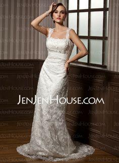 Wedding Dresses - $169.79 - Sheath/Column Sweetheart Watteau Train Chiffon Charmeuse Lace Wedding Dresses With Ruffle Beadwork (002012795) http://jenjenhouse.com/Sheath-Column-Sweetheart-Watteau-Train-Chiffon-Charmeuse-Lace-Wedding-Dresses-With-Ruffle-Beadwork-002012795-g12795