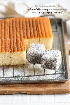 Lamingtons, recipe with step-by-step photos Easy Cake Recipes, Cupcake Recipes, Sweet Recipes, Baking Recipes, Dessert Recipes, Desserts, Lamington Cake Recipe, Lamingtons Recipe, Aussie Food
