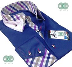 Brand New Men's Formal, Smart, Navy Blue  with White Double Collar Casual Italian Design Slim Fit Shirt,  with Contrast White, Purple, Navy Blue, Grey and Light Brown Checks - NEW DESIGN - S - 4XL
