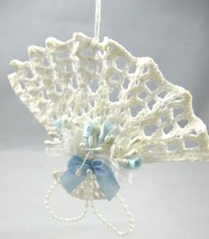 Thread crochet Vicorian fan ornament