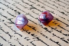 Vintage Purple/Gray Square Earrings   by MKsVintageHomeFinds, $4.99