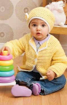 Sunshine Cutie Sweater & Hat Set - free crochet pattern @ Red Heart