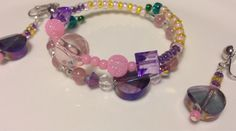 Childrens bracelet and clip-on earring set inspired by Rapunzel from Disney's Tangled on Etsy, $10.00
