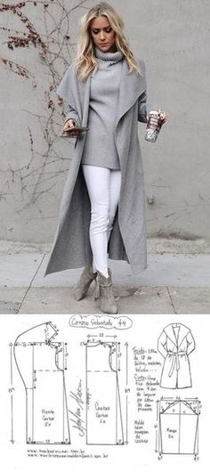 Coat with a smell. Patterns for all sizes (Sewing and cutting) - Magazine Inspiration of the Needlework Muster in allen Größen (Schi … - Mode Trends Coat with smell. - Do it Yourself Clothes Love this entire look! How to draft this collar Easy Sewing Patterns, Coat Patterns, Clothing Patterns, Dress Patterns, Diy Clothing, Sewing Clothes, Sewing Coat, Coat Pattern Sewing, Barbie Clothes