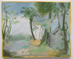 Inspired by late Renaissance and Baroque landscape painting, tapestry and stage scenery, Karen Kilimnik's latest body of work showcases interiors with canopied beds and manicured landscapes, stage-like in their perfection. The exception is this expressionist tropical landscape with its sumptuous, glittery tent, as lush as the greenery. (At 303 Gallery in Chelsea through March 26th). Karen Kilimnik, tropical hurricane, Thailand or Maldives, water soluble oil color and glitter on canvas, 16…