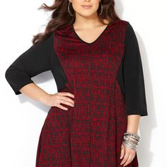 d958c0cd1ef Mini Plaid Seamed Sharkbite Top-Plus Size Top-Avenue Plus Size Tops