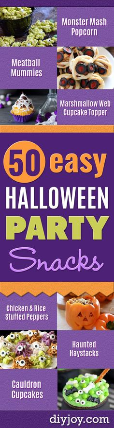 Best Halloween Party Snacks - Healthy Ideas for Kids for School, Teens and Adults - Easy and Quick Recipes and Idea for Dips, Chips, Spooky Cookies and Treats - Appetizers and Finger Foods Halloween Party Snacks, Kinder Party Snacks, Easy Halloween, Halloween Appetizers, Healthy Halloween, Halloween Apps, Holiday Appetizers, Halloween Desserts, Halloween Cookies