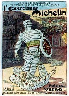 VintageArte♥ - Michelin Bibendum Gladiator Tire Poster : Posters and Framed Art Prints Available